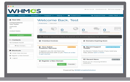 Client Area for whmcs billing